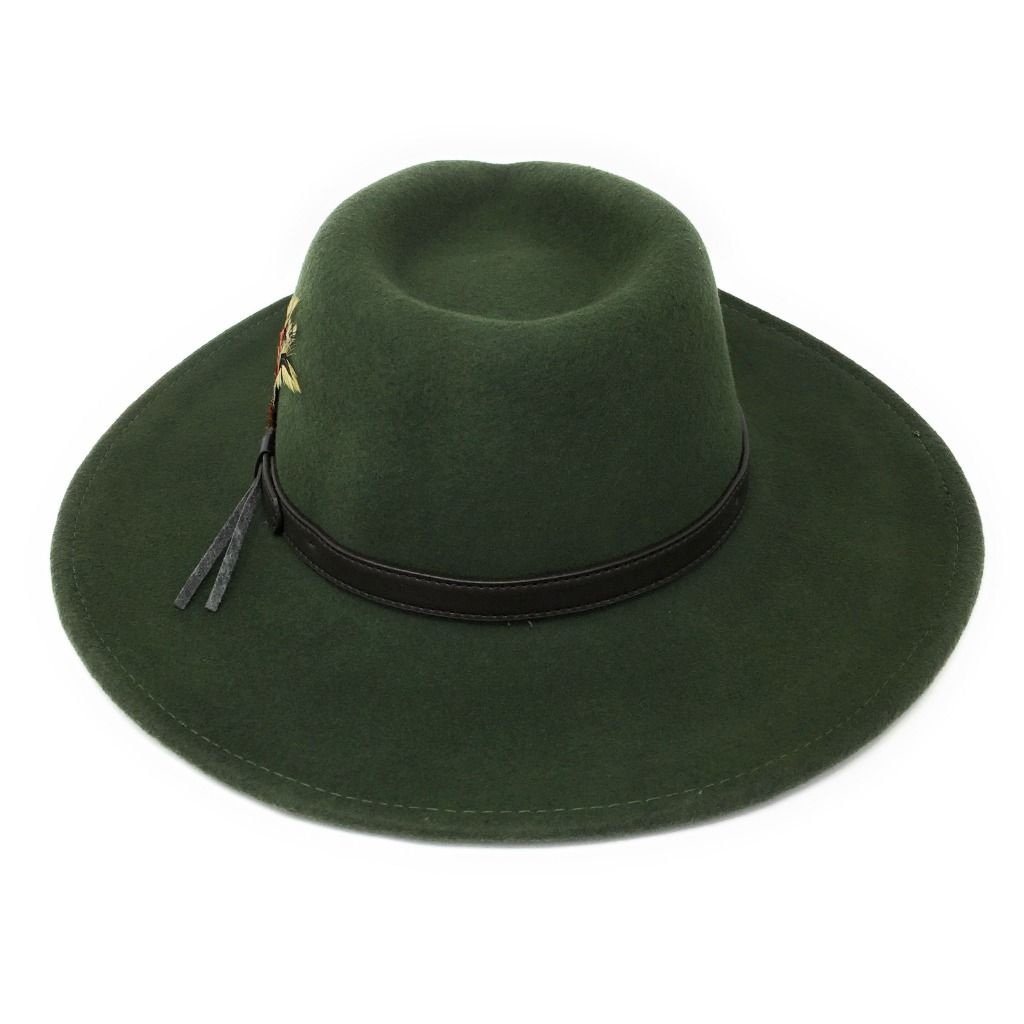 f17b38f6ca3 Fedora Cowboy Hat Crushable Safari with Removable Feather - Olive